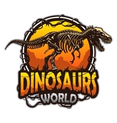 Dinosaurs world emblem vector
