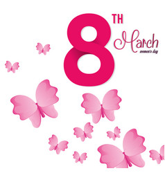 8 march womens day pink butterfly vector