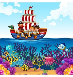 Children on viking boat and ocean scene vector
