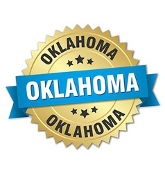 Oklahoma round golden badge with blue ribbon vector