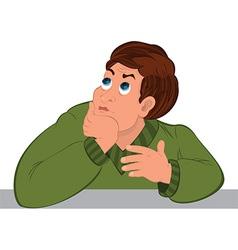 Cartoon man torso in green sweater dreaming vector