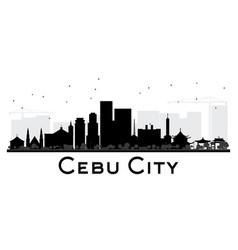 Cebu city skyline black and white silhouette vector
