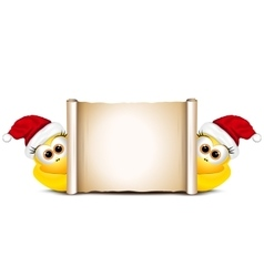 Christmas card design template two funny chicken vector