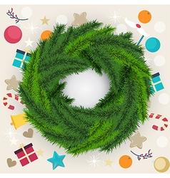 Circular Christmas wreath of pine or fir foliage vector image vector image