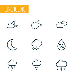 Climate outlines set collection of overcast vector