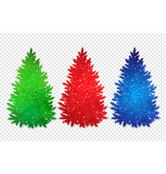 collection of christmas spruce trees silhouettes vector image