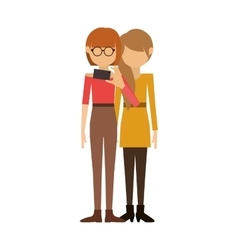 Couple of women and redhead short hair take selfie vector
