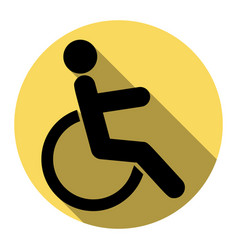disabled sign flat black vector image vector image