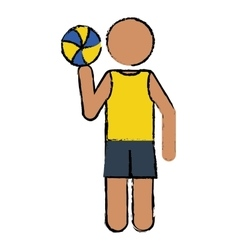 Drawing player volleyball yellow tshirt vector