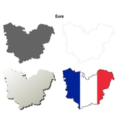 Eure upper normandy outline map set vector