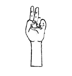 figure hand with middle finger and fingerprint up vector image