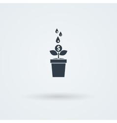 Flat icon with money tree vector