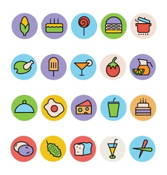 Food colored icons 5 vector