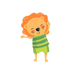 Funny lion with orange mane dressed in sportswear vector