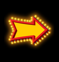 glowing arrow with lamps luminous pointer retro vector image