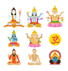 God of hinduism and priest set vector