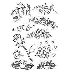 Hand drawing flowers vector