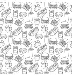 Hand drawn pop art monochrome fast food pattern vector