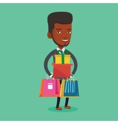 Happy man holding shopping bags and gift boxes vector image vector image