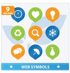 Internet web flat symbols set vector image