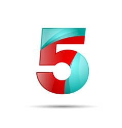 Number five 5 colorful 3d volume icon design for vector image