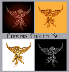 Phoenix emblem set vector