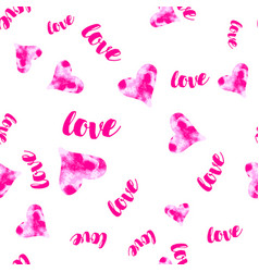 Pink watercolour hearts with love seamless vector
