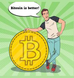 pop art business man with big bitcoin vector image