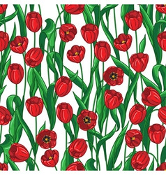 Red tulip pattern vector