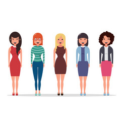 set of diverse business characters businesswomen vector image