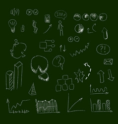set of hand drown icons on chalkboard for vector image vector image