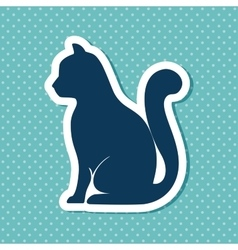 Silhouette cat sit dot background vector