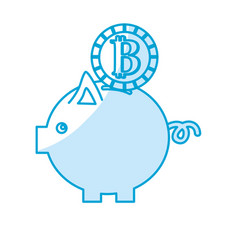 Silhouette nice pig to save coin currency broken vector