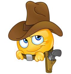 smiling cowboy emoticon vector image vector image