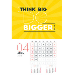 wall calendar template for april 2018 design vector image vector image