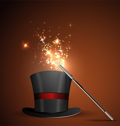 Wand and magical hat vector