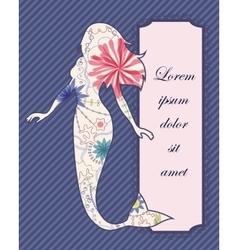 Vintage mermaid background vector image