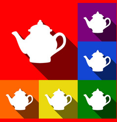 Tea maker sign  set of icons with flat vector