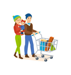 the family walks on the store for shopping vector image