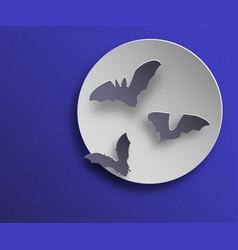 Flock of bats in paper art style on night moon vector