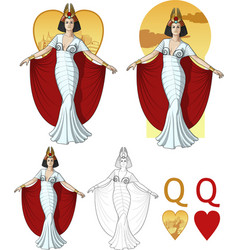 Queen of hearts actress mafia card set vector