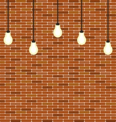 Wall brick with hanging bulbs decoration vector