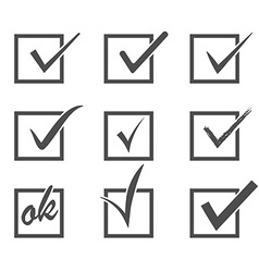 Set of check marks vector