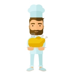 Chef presenting a tasty cooked turkey vector