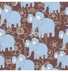 Floral elephant pattern vector