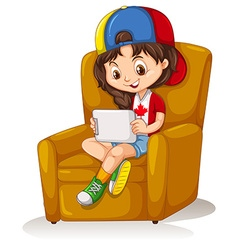 Little girl with tablet sitting on chair vector