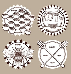 Sketch honey logotypes vector