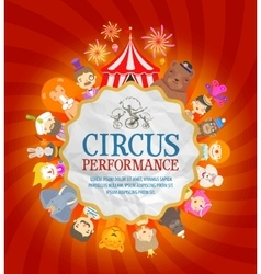 Circus poster circus performers and animals vector