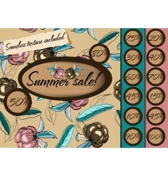 Summer sale poster with seamless texture vector