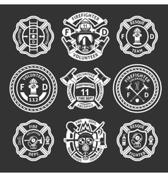 Firefighter white label set vector